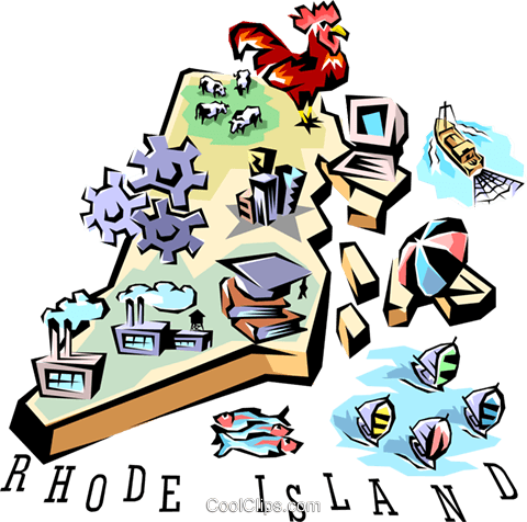 Rhode Island vignette map Royalty Free Vector Clip Art.