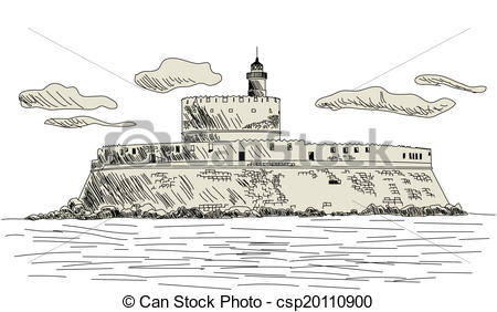 Vector Clipart of Rhodes ancient fort. EPS 10 vector sketch.