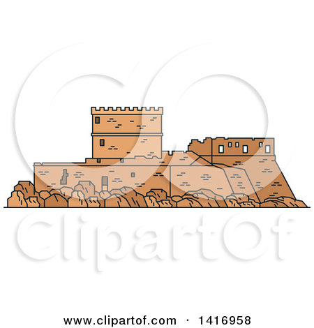 Clipart of a Sketched Ancient Greek Landmark, Castle of the.