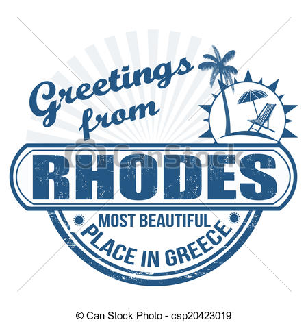 Vector Clip Art of Greetings from Rhodes stamp.