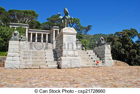 Stock Image of Rhodes Memorial monument in Cape Town, South Africa.