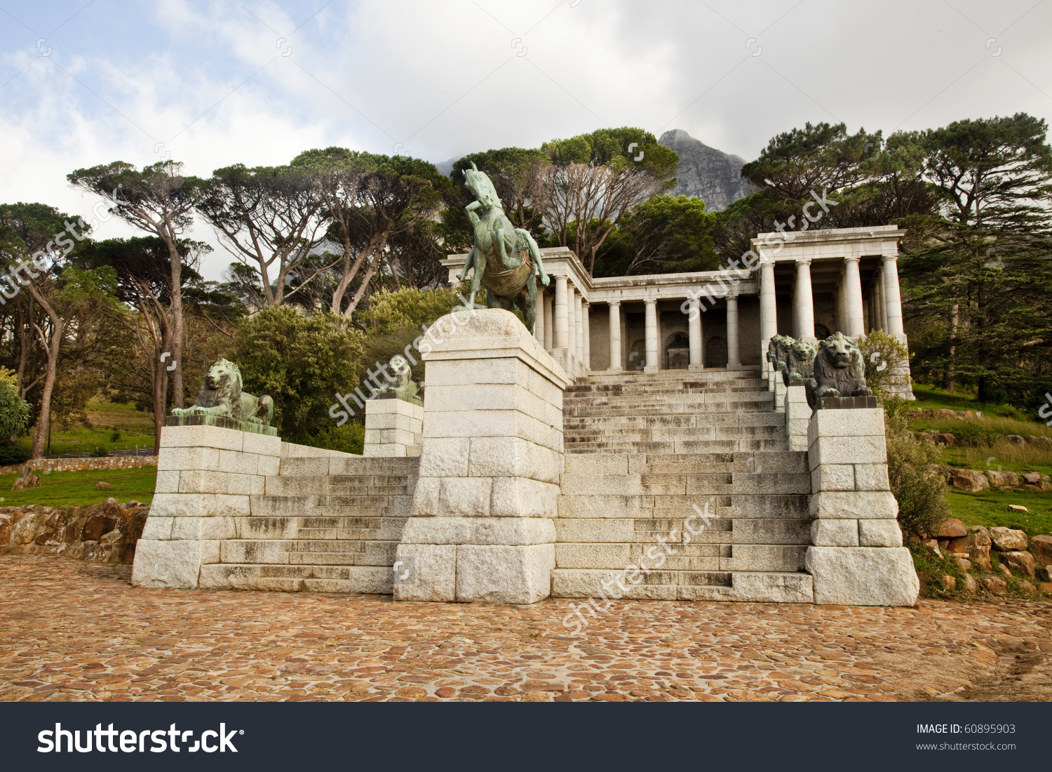 The Rhodes Memorial Monument In Cape Town, South Africa, On Table.