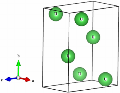 The unit cell crystal structure of the orthorhombic Cmcm uranium.