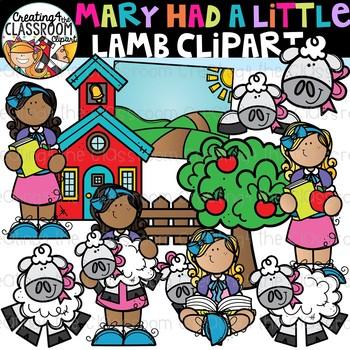 Mary Had a Little Lamb Clipart {Nursery Rhymes Clipart}.