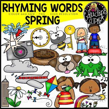 Spring Rhyming Words Clip Art Set {Educlips Clipart}.