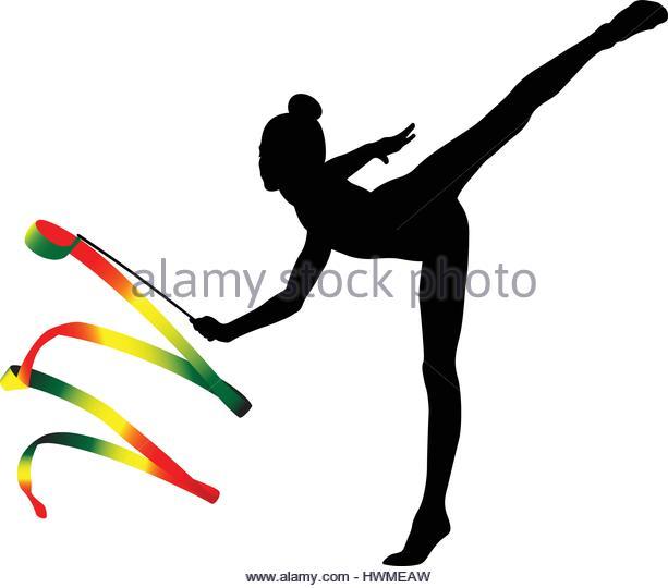 Woman Ribbon Rhythmic Gymnastics Vector Stock Photos & Woman.
