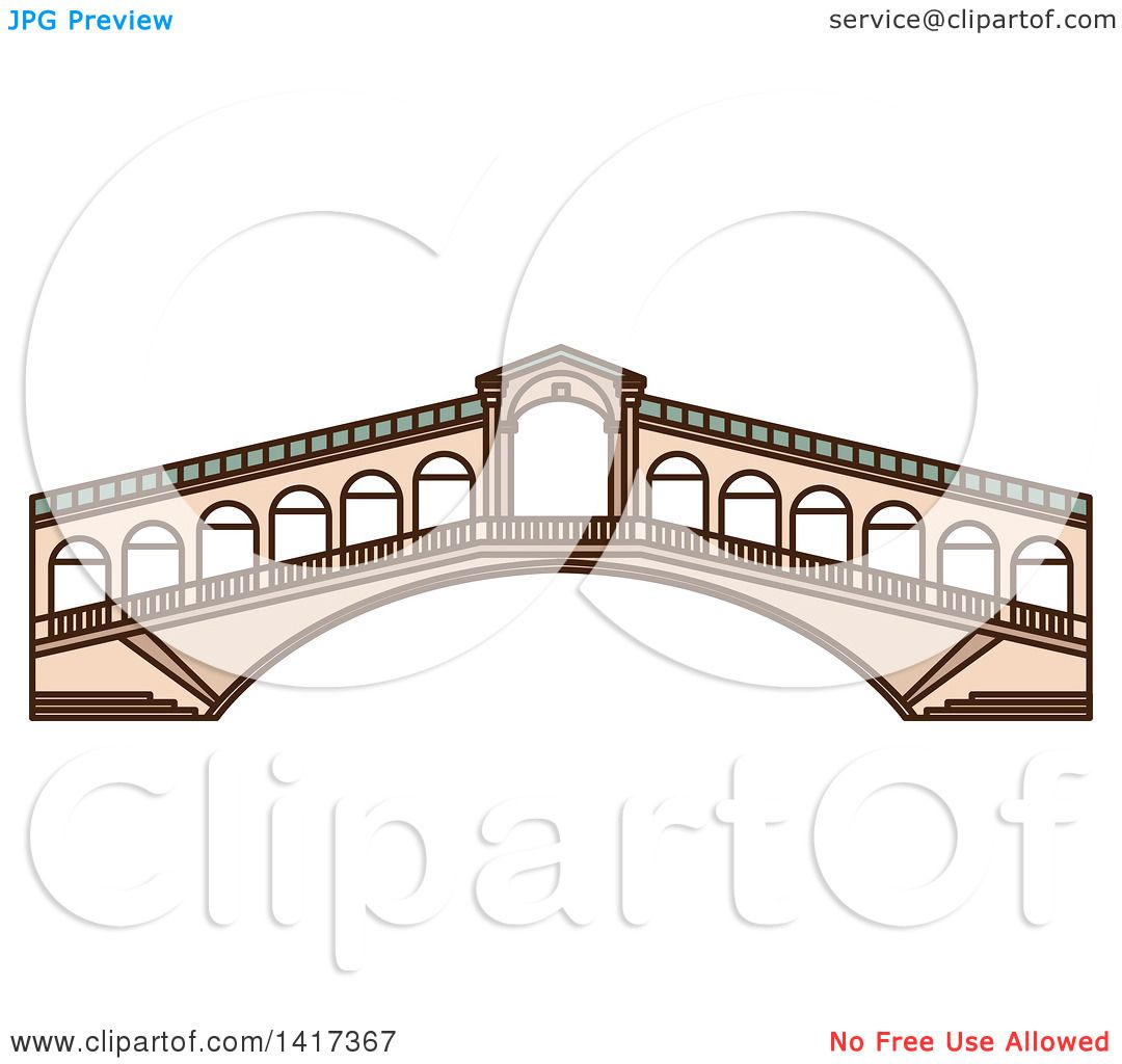 Clipart of a Italian Landmark, Rialto Bridge.