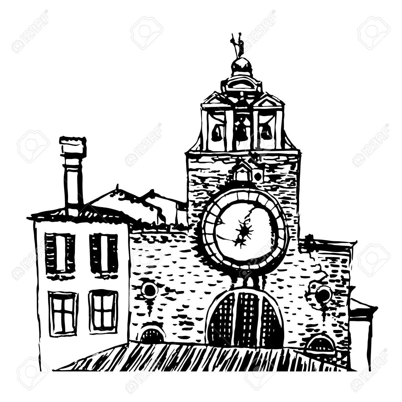 Church San Giacomo Di Rialto Sketch Illustration Royalty Free.
