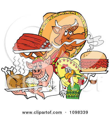 Clipart Chef Chicken Pig And Cow Holding Ribs Roasted Bird And.