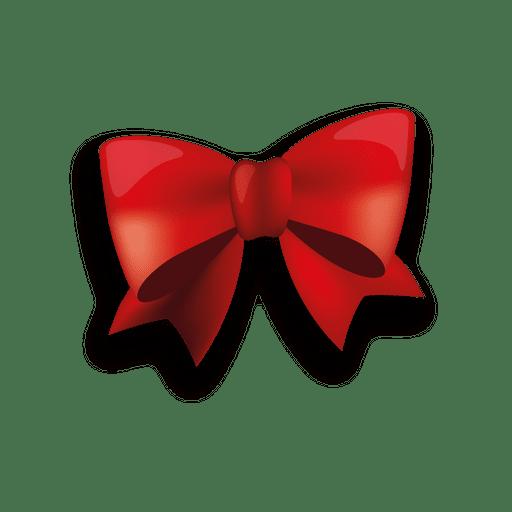 Glossy red ribbon bow.
