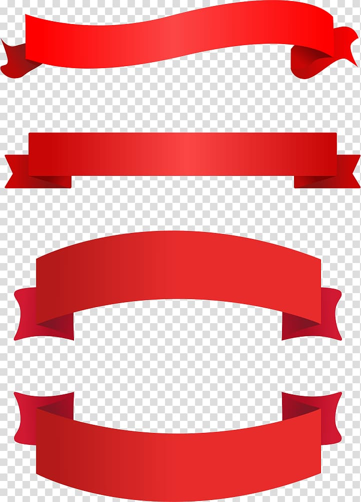 Four red ribbons illustration, Ribbon Banner , ribbon.