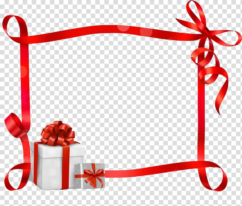 Gift ribbon border transparent background PNG clipart.