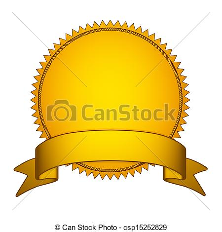 Clip Art of Golden Seal Stamper with Gold Ribbon.