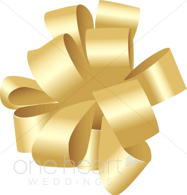 Gold Christmas Bow Clipart.