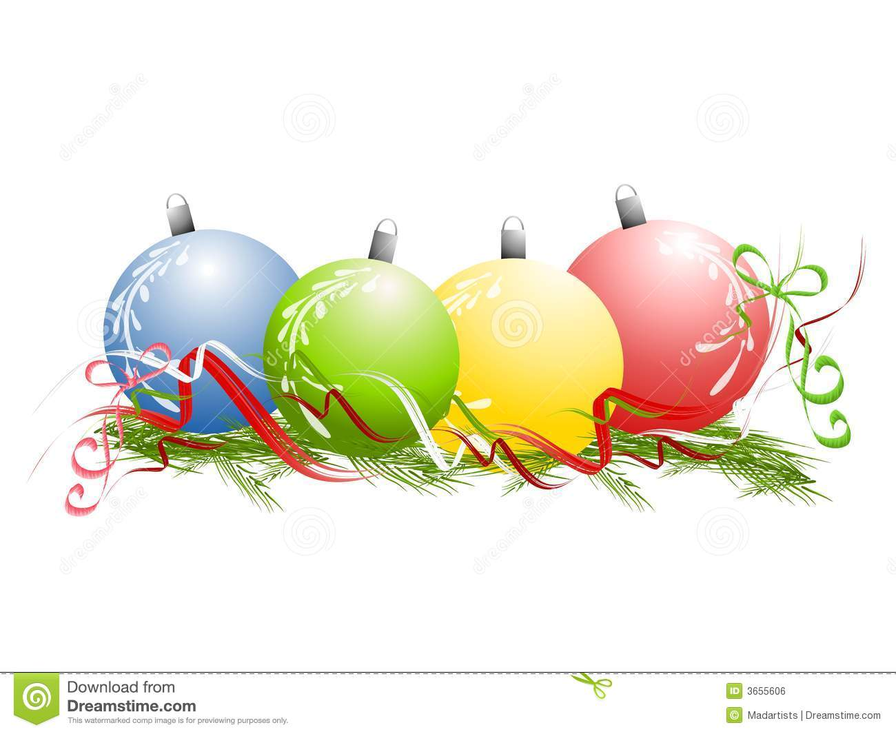 Ribbon Ornaments Clipart.
