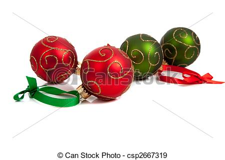 Stock Photographs of Red and Green Christmas ornaments with ribbon.