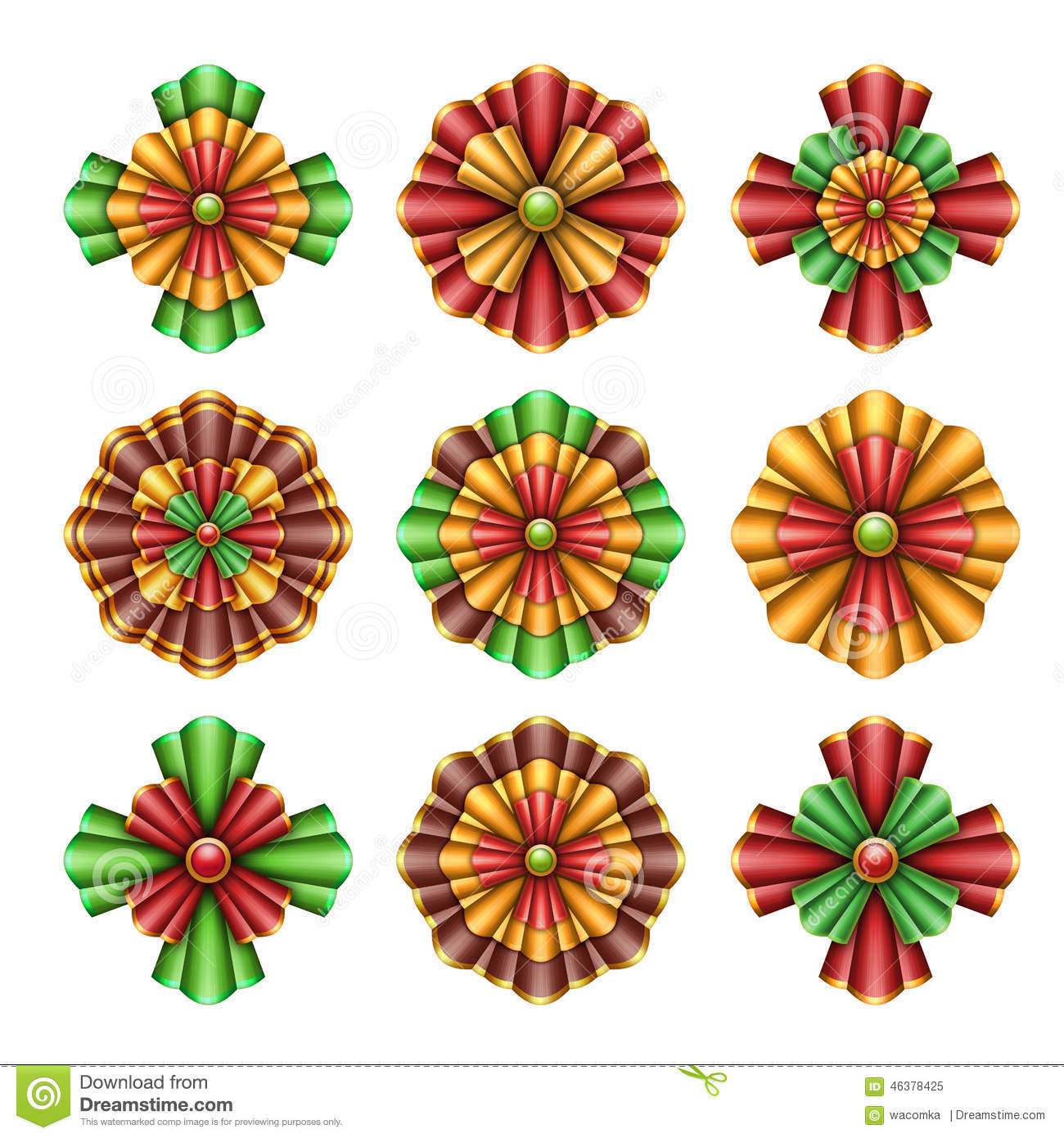 Christmas Ornaments Elements, Bows Clip Art, Abstract Flowers.