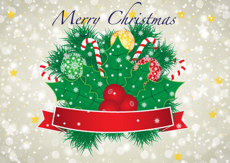Merry Christmas Vector Banner with Red Ribbon and Christmas.