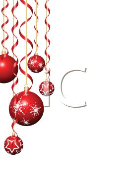 Royalty Free Clip Art Image: Red Christmas Ornaments Hanging on.