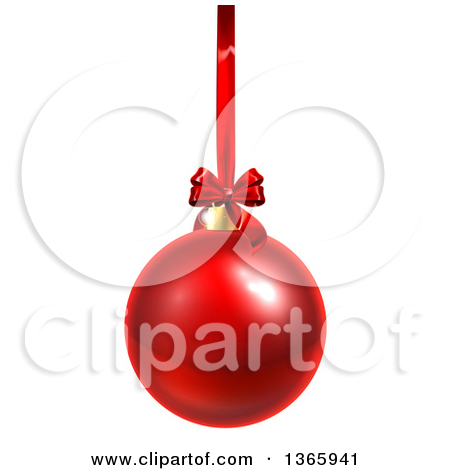 Clipart of a 3d Shiny Red Christmas Bauble Ornament Hanging from a.