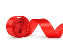 Roll Red Ribbon Stock Photo.