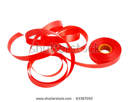 Roll Red Plastic Ribbon On White Stock Photo 63387055.