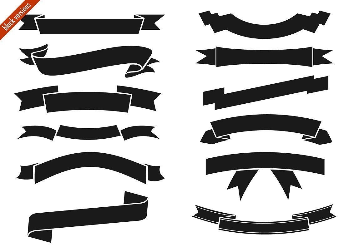 Digital ribbons #black#white#versions#Vector.