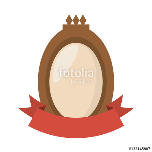 brown shield badge and red ribbon vector illustration eps 10.