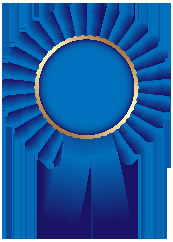Blue Rosette Ribbon PNG Clip Art Image.
