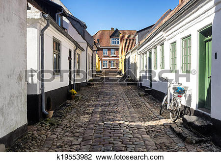 Stock Photo of Street with old houses from Ribe in Denmark.