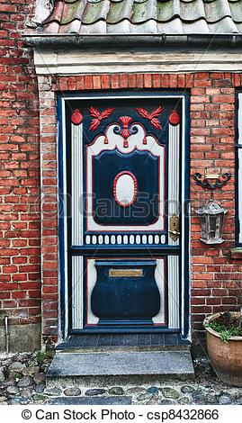 Stock Image of Antique door in Ribe, Denmark.