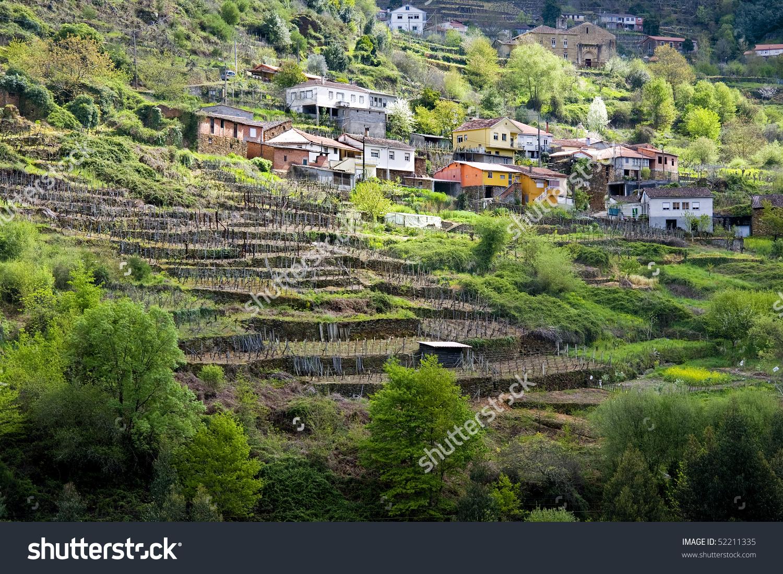 Nature Landscapes Ribeira Sacra Orense Galicia Stock Photo.