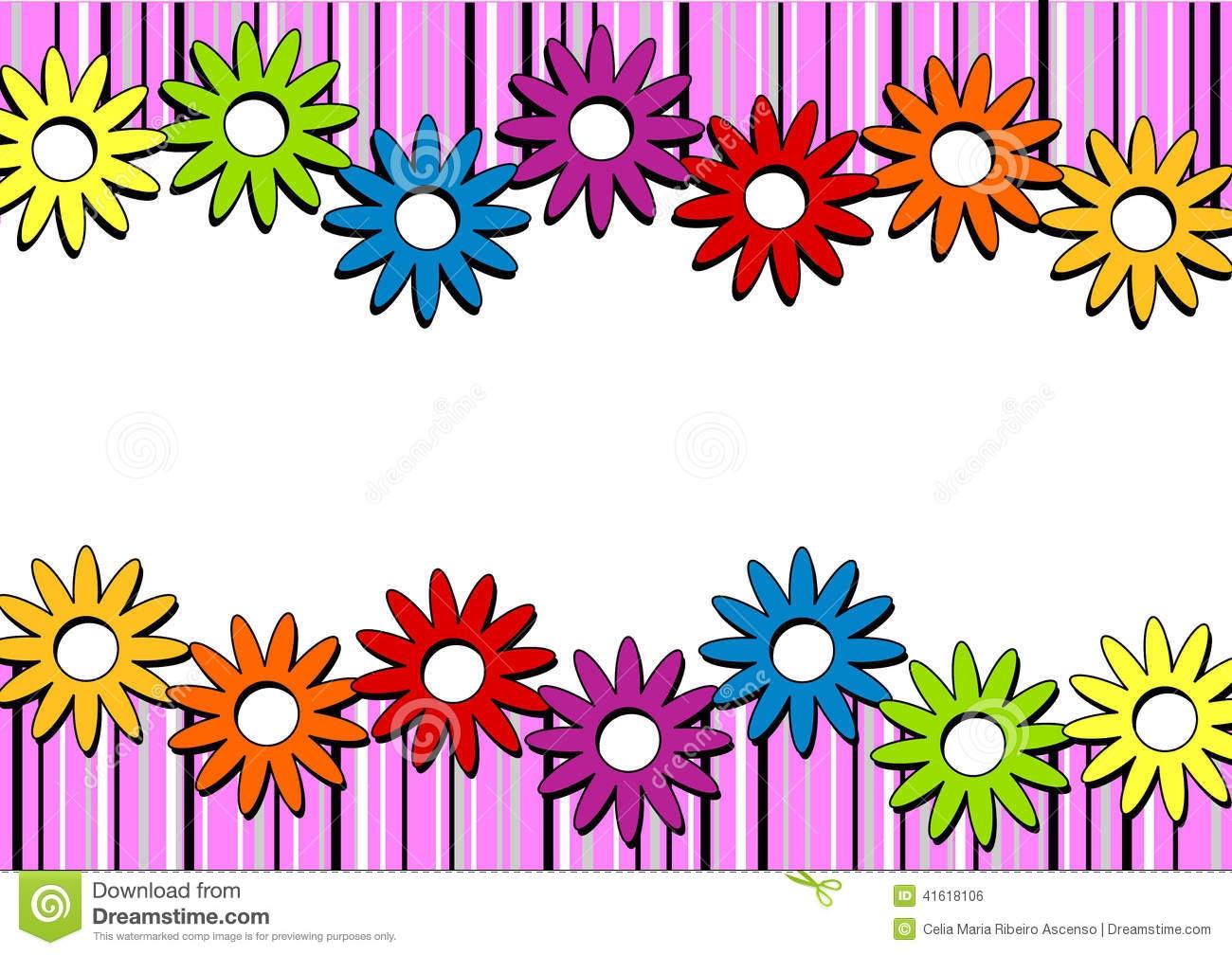 Horizontal Flower Border Clip Art.