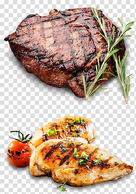 Ribeye steak and grilled chicken fillet, Lamb and mutton.