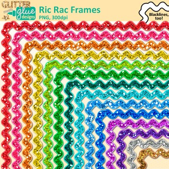 Ric Rac Border Clip Art {Rainbow Glitter by Glitter Meets Glue.