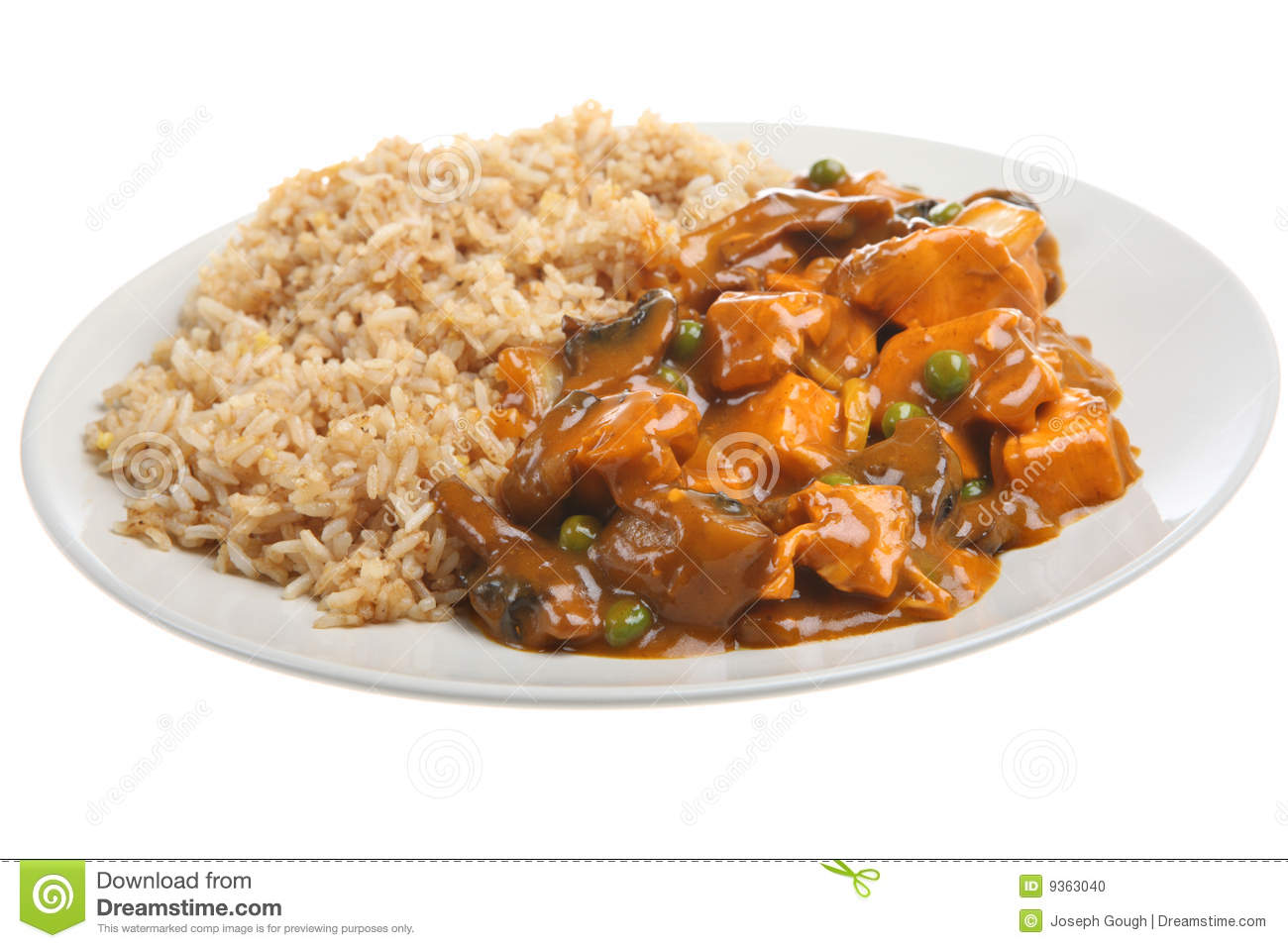 Chinese Curry & Rice Takeaway Meal Royalty Free Stock Photo.