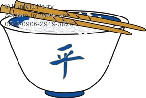 Clip Art Illustration of a Chinese Bowl of Rice With Chopsticks.