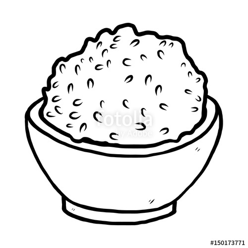 rice bowl / cartoon vector and illustration, black and white.
