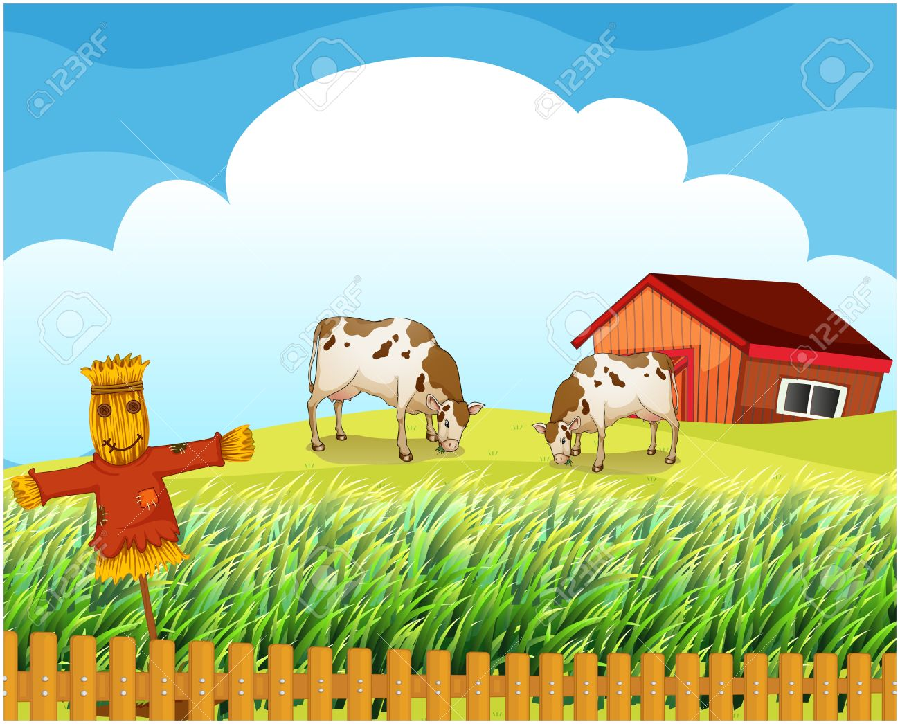 Rice field clipart.