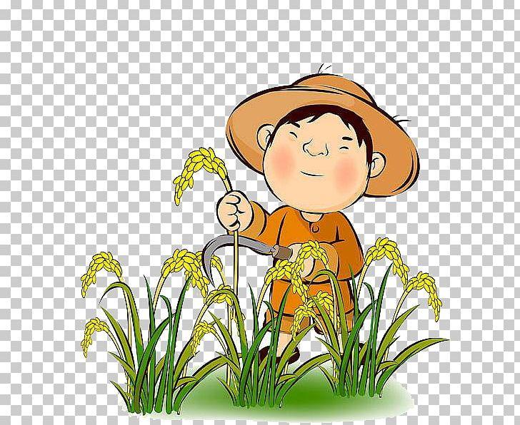 Farmer Rice Agriculture Harvest PNG, Clipart, Artwork, Child.