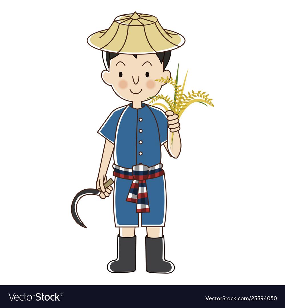 Thai farmer with rice plant.