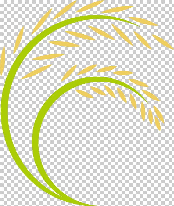 Rice Logo, Cartoon rice ears, yellow and green wheat PNG.