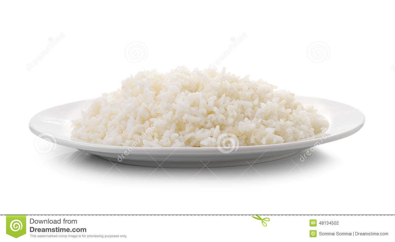Rice On A White Plate. Stock Photos.