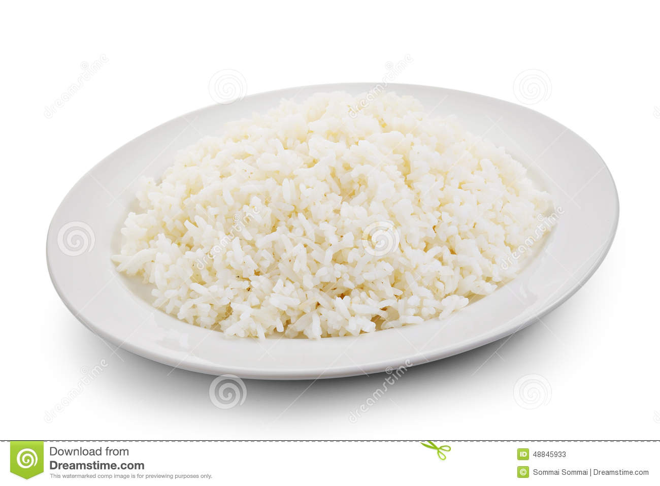 Cooked Rice In A White Plate Stock Photo.
