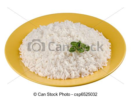 A plate of rice clipart.