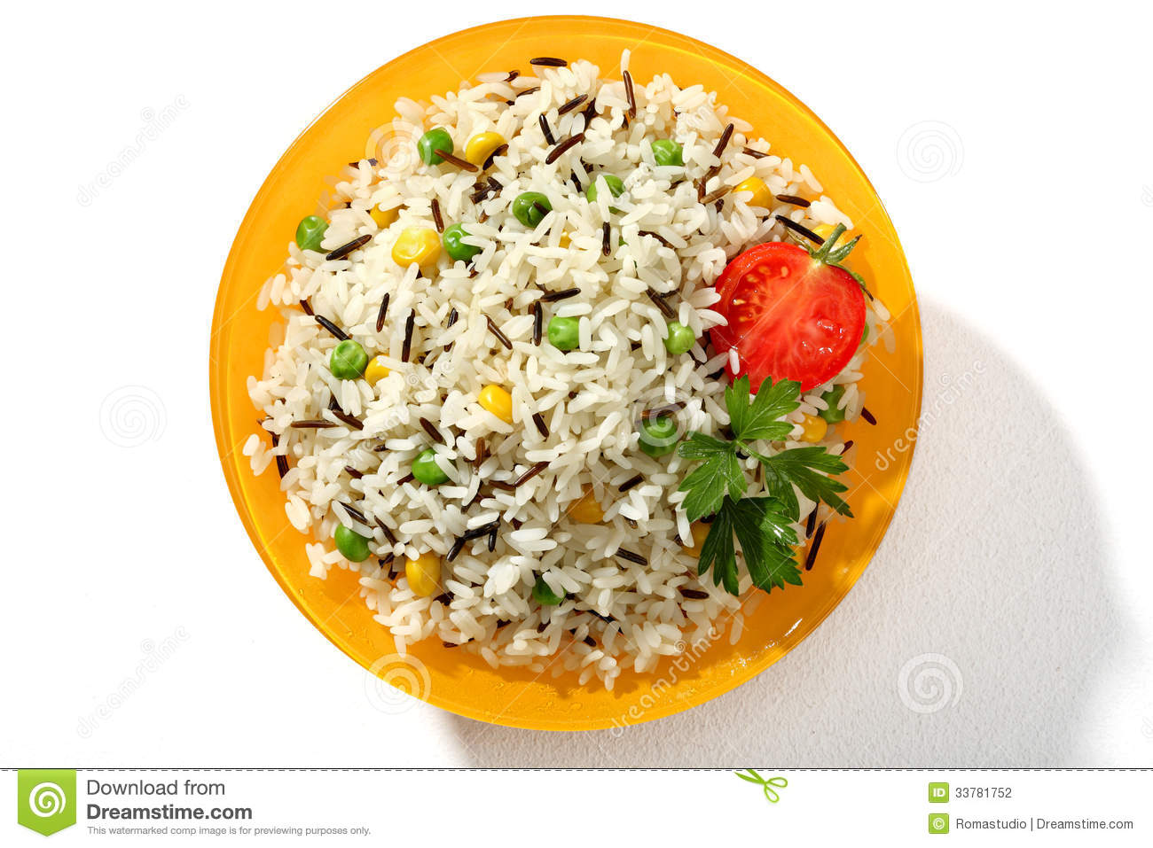 Dish Of Black & White Rice In An Orange Plate Stock Photo.