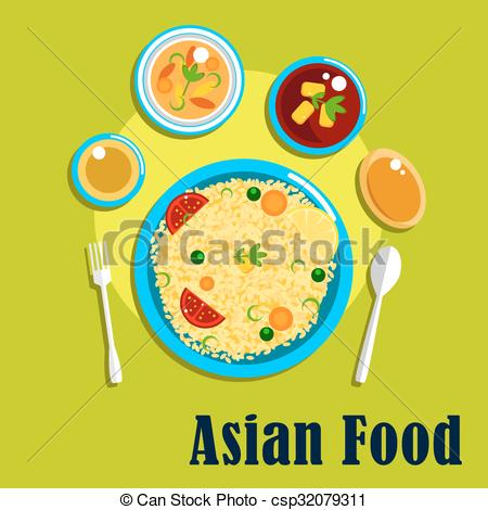 Vector Clip Art of Traditional indian cuisine, food and spices.