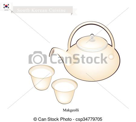 Vector Clipart of Korean Traditional Rice Wine, Popular Dink in.