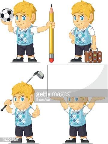 Blonde Rich Boy Customizable Mascot 5 premium clipart.