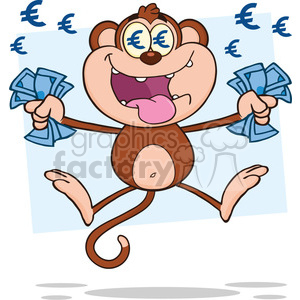 royalty free rf clipart illustration rich monkey cartoon character jumping  with cash money and euro eyes vector illustration with bacground isolated.
